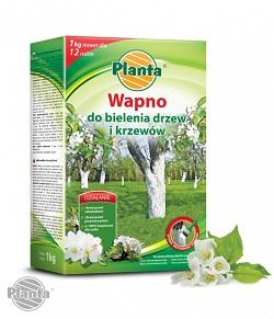 W sklepach ogrodniczych dostępne są różnej wielkości opakowania wapna przeznaczonego do bielenia drzew